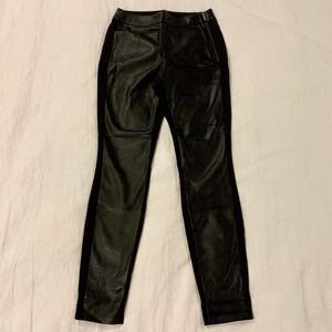 WHBM Faux Leather Panel Skinny Pant (size 0)